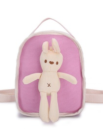 Fashion Pink Rabbit Doll Stitching Canvas Childrens Backpack