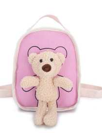 Fashion Pink Canvas Bear Doll Childrens Backpack