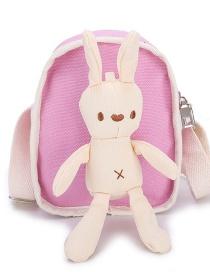 Fashion Pink Rabbit Doll Stitching Crossbody Shoulder Bag
