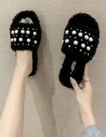 Fashion Black Pearl Lambs Wool One-line Outer Wear Flat-bottomed Wool Shoes