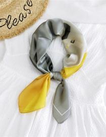 Fashion Three-dimensional Space Gray Imitating Silk Printing Geometric Thin Scarf