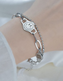 Fashion Silver Color Smiley Round Letters Alloy Multilayer Bracelet