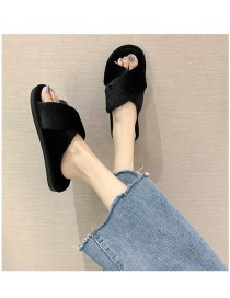 Fashion Black Home And Indoor Cross Flat-bottomed Fur Slippers