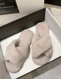 Fashion Pale Pinkish Gray Home And Indoor Cross Flat-bottomed Fur Slippers