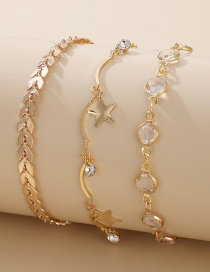 Fashion Gold Color Five-pointed Star Diamond Leaf Alloy Anklet Set