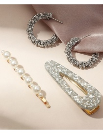Fashion Color Mixing Pearl Sequin Resin Geometric Alloy Hairpin Earrings