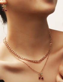 Fashion Gold Color Fruit Cherry Diamond Alloy Multilayer Necklace Earrings
