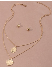 Fashion Gold Color Geometric Portrait Alloy Multilayer Necklace Earrings