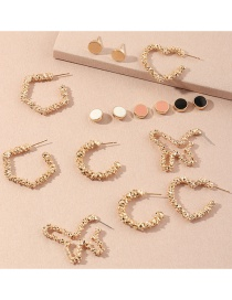 Fashion Gold Color Bump Texture Love Butterfly Alloy Earrings Set