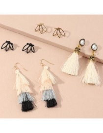 Fashion Color Mixing Diamond Drop-shaped Tassel Alloy Hollow Earrings Set