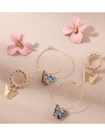 Fashion Color Mixing Diamond Pearl Flower Butterfly Alloy Earring Set
