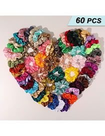Fashion Color Mixing Fabric Solid Color Pleated Large Intestine Circle Hair Rope Set