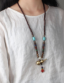 Fashion Solid Gourd Wood Bead Chain (heavier) Copper Gourd Pendant Wooden Sweater Necklace