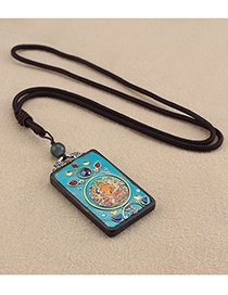 Fashion Huang Cai Shen No. 3 Thangka Square Ebony Wood Elephant Lotus Movable Long Sweater Chain