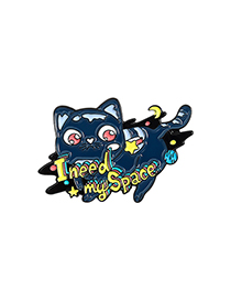 Fashion Cat Flying Cosmic Space Cat Rainbow Oil Drop Brooch