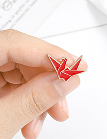 Fashion Red Thousand Paper Crane Alloy Paint Brooch