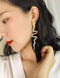 Fashion Gold Color Snake-shaped Diamond Alloy Long Earrings