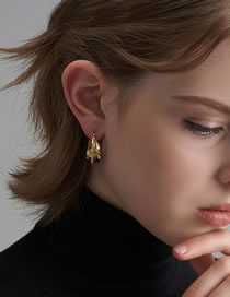 Fashion Gold Color Bump Hammer Surface Handmade Circle Irregular Three-dimensional Texture Earrings