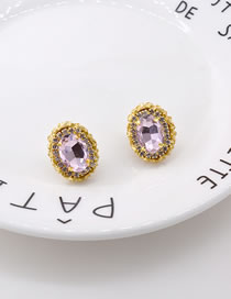 Fashion Gold Color Diamond And Crystal Oval Alloy Earrings