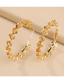 Fashion Gold Color Rose Alloy Geometric Round Earrings
