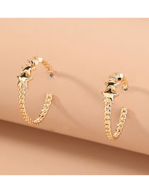 Fashion Gold Color Twist Chain C-shaped Stitching Five-pointed Star Alloy Earrings