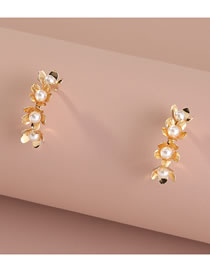 Fashion Gold Color Pearl Flower Alloy Geometric Earrings