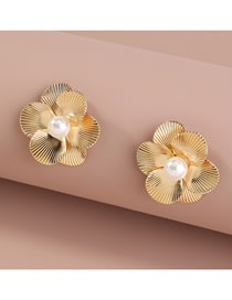 Fashion Gold Color Pearl Flower Alloy Earrings