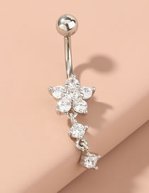 Fashion Silver Color Alloy Belly Button Nails With Fringed Flowers And Diamonds