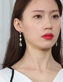 Fashion White Tassel Natural Stone Pearl Alloy Geometric Earrings