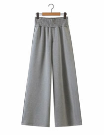 Fashion Gray Flared Elastic Waist Wide-leg Trousers