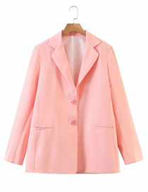 Fashion Pink Solid Color Double Button Oversized Blazer