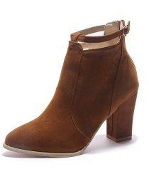 Fashion Brown Pointed Thick High Heel Belt Buckle Back Zipper Ankle Boots