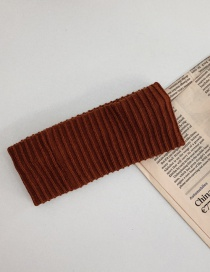 Fashion Rust Red Sporty Wide Side Stretch Knit Striped Headband