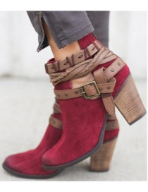 Fashion Wine Red Rivet Belt Buckle Hollow High Thick Heel Martin Boots