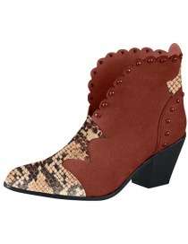 Fashion Light Brown Large Size Pointed Rivet Stitching Snake Print Leather Thick High-heeled Ankle Boots