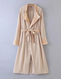 Fashion Apricot Paneling Buttonless Belted Lapel Trench Coat