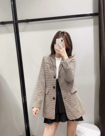 Fashion Brown Single-breasted Houndstooth Mid-length Coat