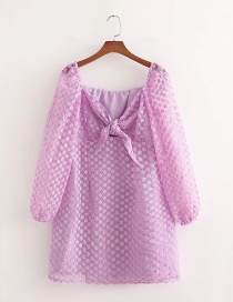 Fashion Purple Organza Embroidered Knotted Dress