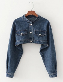 Fashion Denim Blue Short Single-breasted Denim Jacket