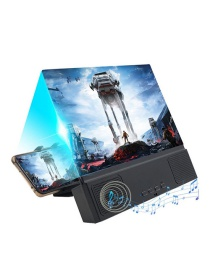 Fashion Black 12-inch Large-screen Bluetooth Speaker Multi-function Mobile Phone Bracket Two-in-one Screen Amplifier (charged)