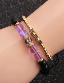 Fashion Gold Colorful Suit Moonlight Bright Stone Micro-inlaid Zircon Cube Cylindrical Water Drop Bracelet Set