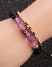 Fashion Rose Gold Colorful Suit Moonlight Bright Stone Micro-inlaid Zircon Cube Cylindrical Water Drop Bracelet Set