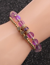 Fashion Gold Colorful Suit Micro-inlaid Zircon Cube Moonstone Drop Bracelet Set