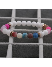 Fashion Colorful Weathering 8mm Porcelain White Stone Weathered Stone Beaded Diamond Elastic Bracelet