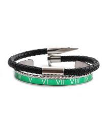 Fashion Green Suit Stainless Steel Roman Letter Opening Adjustment Bracelet Set