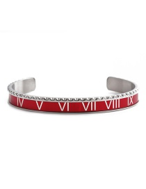 Fashion Red Open Bracelet Stainless Steel Roman Alphabet Twist Opening Adjustment Bracelet Set