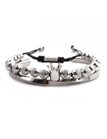 Fashion White Gold Colorful Embossed Crown Set Stainless Steel C-shaped Twisted Crown Opening Adjustment Bracelet Set