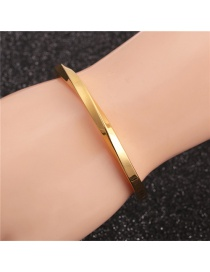 Fashion C-shaped Twist Open Bracelet Gold Colorful Stainless Steel C-shaped Twisted Copper Bead Crown Opening Adjustment Bracelet Set