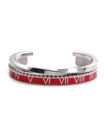 Fashion Red Open Bracelet Set Stainless Steel Roman Letter C Twisted Opening Adjustment Bracelet