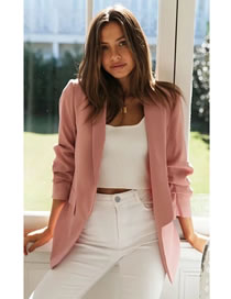 Fashion Pink Pile Sleeve Solid Color Suit Jacket